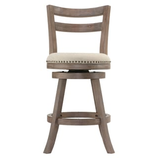 Cortesi Home Harper Beige Fabric Swivel Seat Counter Stool with Back