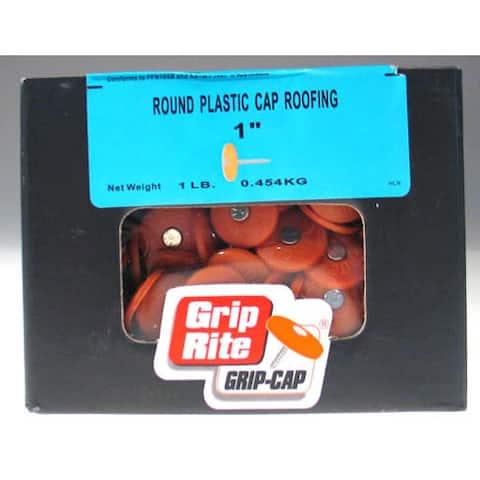 """Grip Rite 1PRCAP1 1 Lb 1"""" Electro Galvanized Round Plastic Grip-Cap Nail"""