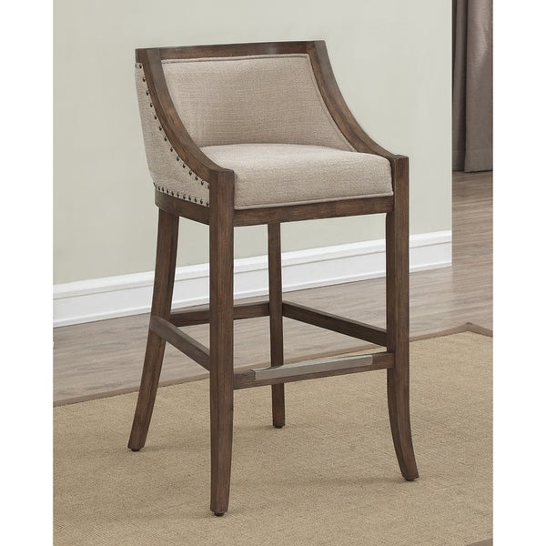 Memphis 30 Inch Brown Birch And Fabric Bar Stool By
