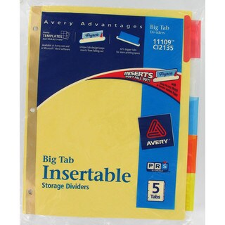 Avery 11109 5 Tab Assorted Colors WorkSaver Big Tab Paper Dividers