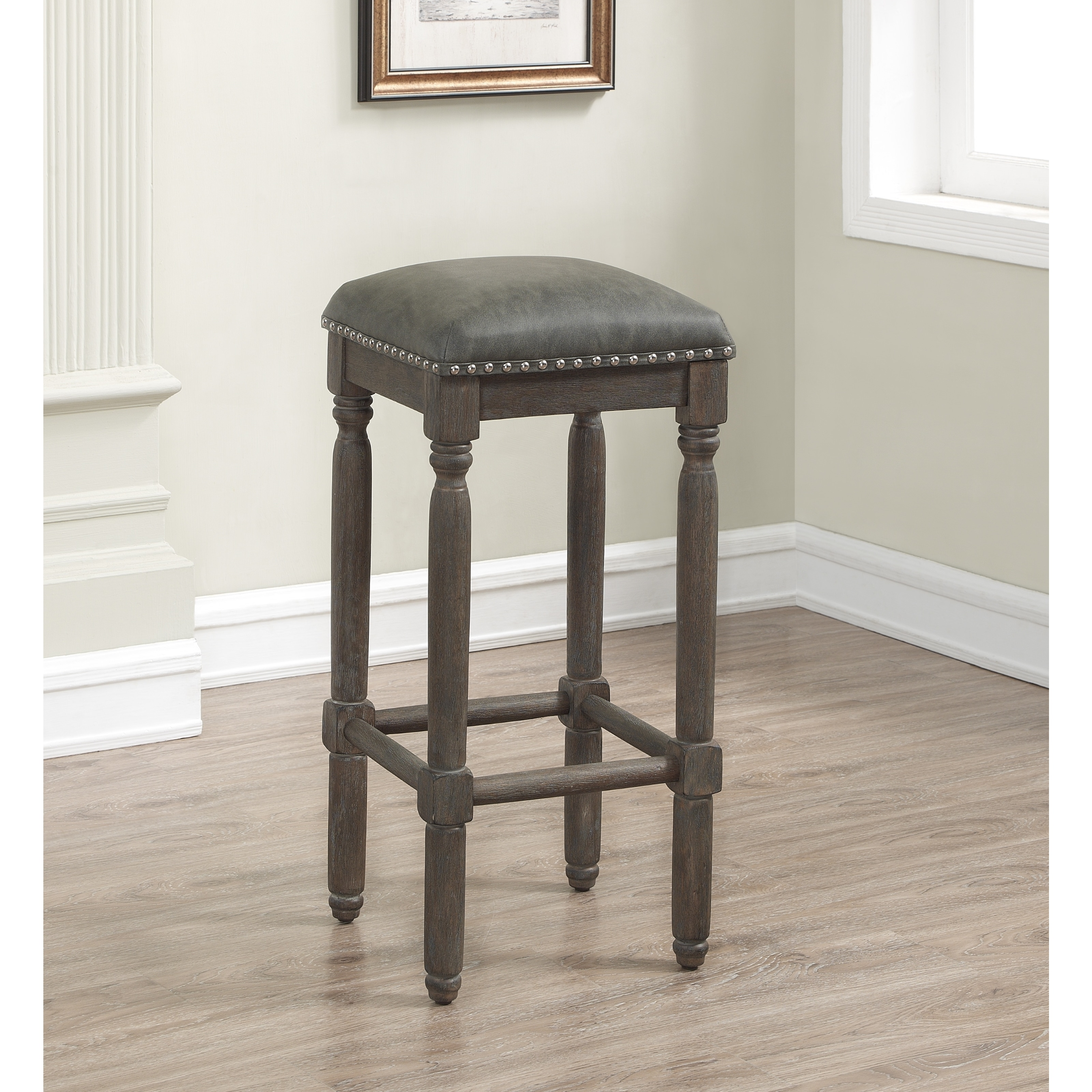 Copper Grove Sherwood 30 Inch Grey Leather And Wood Backless Bar Stool