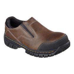 Men's Skechers Work Relaxed Fit Hartan Steel Toe Slip On Shoe Dark Brown