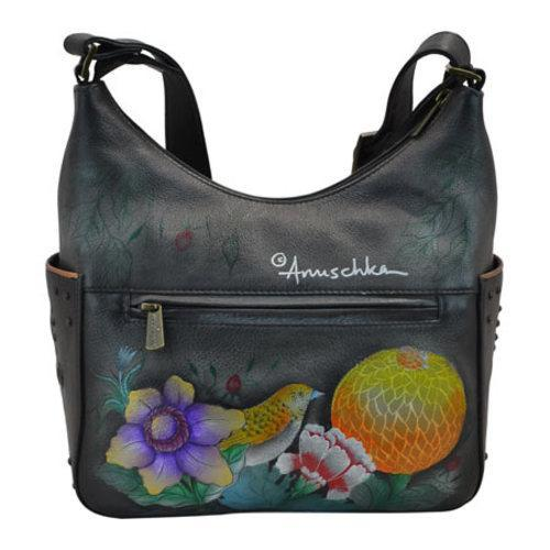 Women's Anuschka Hand Painted Leather Classic Hobo With Studded Sid Vintage Bouquet - Thumbnail 1