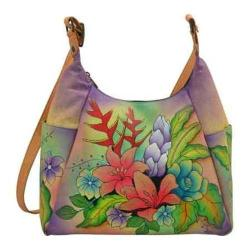 Women's ANNA by Anuschka Hand Painted Large Multi-Pocket 8060 Tropical Bouquet