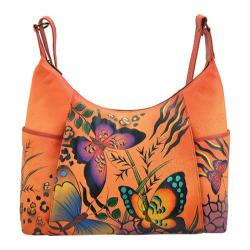 Women's ANNA by Anuschka Hand Painted Large Shoulder Hobo 8082 Animal Butterfly Tan