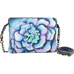 Women's ANNA by Anuschka Hand Painted Leather Small Crossbody 8213 Marigold Denim