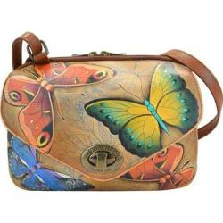 Women's Anuschka Hand Painted Leather Convertible Travel Organizer Earth Song