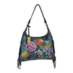 Women's Anuschka Hand Painted Leather Fringe Shoulder Hobo Bag Vintage Bouquet