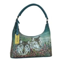 Women's Anuschka Hand Painted Leather Medium Top Zip Hobo Handbag Western Wolf