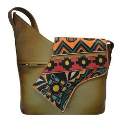Women's Anuschka Hand Painted Leather Small Asymmetric Flap Bag Antique Aztec