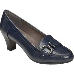 Women's Aerosoles Seashore Heel Navy Faux Leather