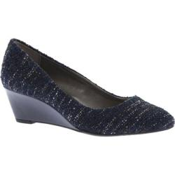 Women's Bandolino Franci Wedge Navy Twinkle Tweed Boucle Fabric