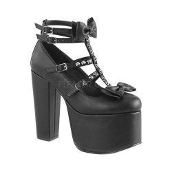 Women's Demonia Torment 600 Platform T-Strap Black Vegan Leather