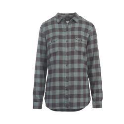 Women's Woolrich Twisted Rich Flannel Button Down Shirt Navy Buffalo