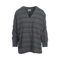 Women's Woolrich Twisted Rich Flannel Popover Shirt Black Stripe