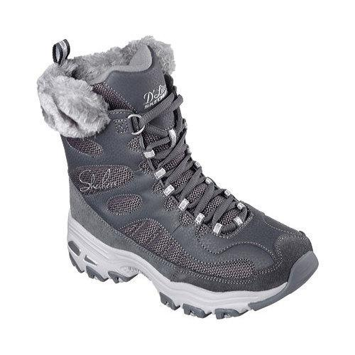 Women's Skechers D'Lites Chalet Lace Up Boot Charcoal (Gr...