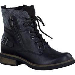 Women's Tamaris Helios Combat Boot Black Leather/Textile