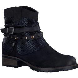 Women's Tamaris Parai Ankle Boot Black Combo Leather/Textile/Synthetic