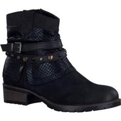 Women's Tamaris Parai Ankle Boot Black Combo Leather/Textile/Synthetic