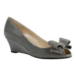 Women's J. Renee Blare Open Toe Wedge Pewter Dance Glitter Fabric