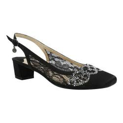 Women's J. Renee Faleece Low Block Heel Slingback Black Lace/Satin