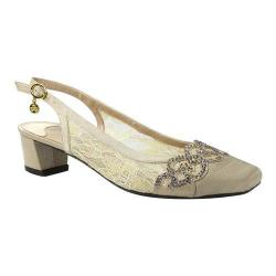 Women's J. Renee Faleece Low Block Heel Slingback Champagne Lace/Satin