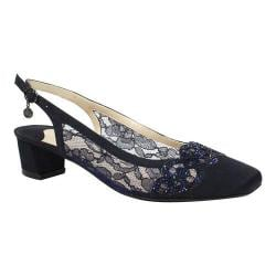 Women's J. Renee Faleece Low Block Heel Slingback Navy Lace/Satin