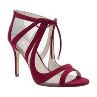 Women's Nina Cherie Peep-Toe Bootie Cranberry Glam Suede/Champagne Mesh