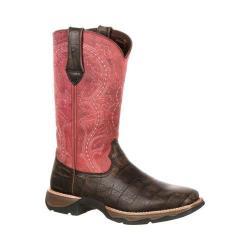 Women's Durango Boot DRD0147 11in Durango Lady Rebel Boot Dark Brown/Fuchsia Full Grain Leather