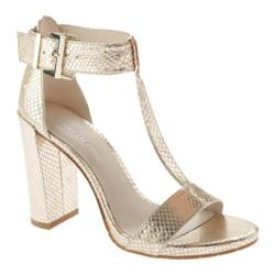 Women's Kenneth Cole New York Daisy T Strap Sandal Rose Gold Embossed Leather