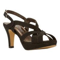 Women's Rose Petals by Walking Cradles Poise Strappy Slingback Sandal Black Sparkle Fabric