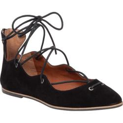 Women's Lucky Brand Billoh Ghilly Lace Up Flat Black Suede