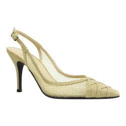 Women's J. Renee Savina Stiletto Pointed Toe Slingback Gold Dance Glitter Fabric