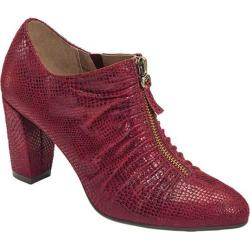 Women's Aerosoles Fortunate Bootie Wine Snake Printed Faux Suede
