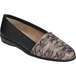 Women's Aerosoles Trend Setter Slip On Black Lace Printed Leather