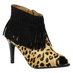 Women's J. Renee Saharra Stiletto Open Toe Ankle Boot Brown/Black Leopard Print Leather