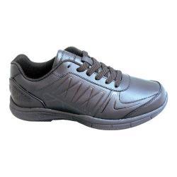 Men's Genuine Grip Footwear Slip-Resistant Athletic Work Shoes Black Leather