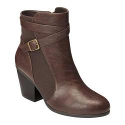 Women's A2 by Aerosoles Invitation Ankle Bootie Dark Brown Faux Leather/Suede Combo