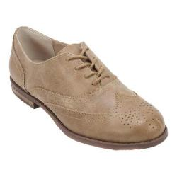 Women's Cliffs by White Mountain Sharlyn Wing Tip Oxford Tan Solid Crack Fabric