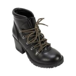 Women's Cliffs by White Mountain Tama Chunky Heel Hiker Boot Black Burnished Smooth PU