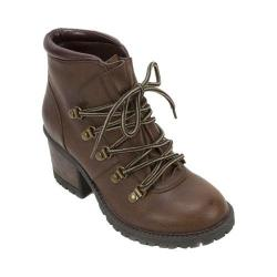 Women's Cliffs by White Mountain Tama Chunky Heel Hiker Boot Brown Burnished Smooth PU