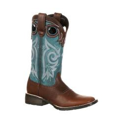 Women's Durango Boot DRD0135 12in Durango Mustang Boot Brown/Teal Full Grain Leather/Faux Leather