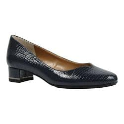 Women's J. Renee Bambalina Low Block Heel Pump Navy Lizard Print Patent Leather