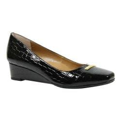 Women's J. Renee Yaralla Pointed Toe Wedge Pump Black Crocodile Print Patent
