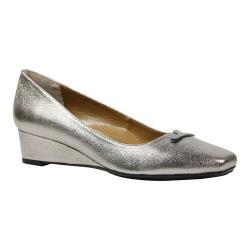 Women's J. Renee Yaralla Pointed Toe Wedge Pump Taupe Metallic Nappa Leather
