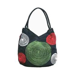 Women's Bamboo54 Hobo Embroidered Bag Black Spirals 63