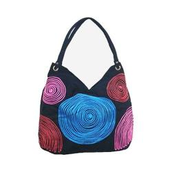 Women's Bamboo54 Hobo Embroidered Bag Black Spirals 65