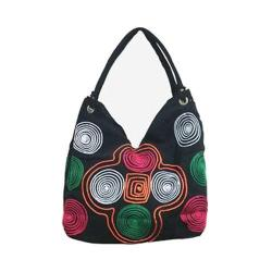 Women's Bamboo54 Hobo Embroidered Bag Black Spirals 77