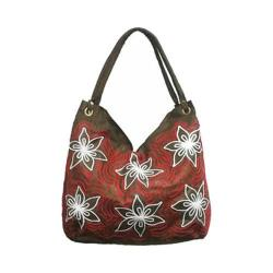 Women's Bamboo54 Hobo Embroidered Bag Brown Flowers 13