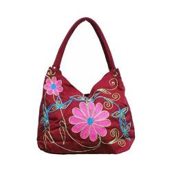 Women's Bamboo54 Hobo Embroidered Bag Red Flowers 32